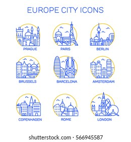 Europe city icons. Vector
