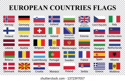 Europe countries flags collection