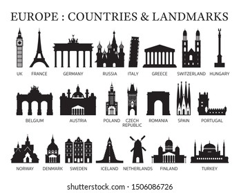 Europe Countries Landmarks Silhouette, Famous Place and Historical Buildings, Travel and Tourist Attraction