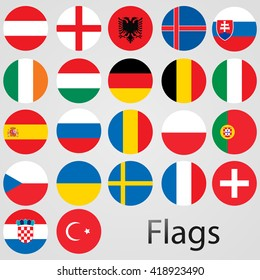 Europe countries vector flags.UEFA teams. 22 flags. Vector illustration.