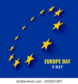 Europe day with perspective circle 12 yellow star sign on blue background vector design
