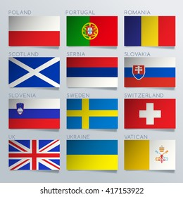 Europe Flag Ribbon Set : Vector Illustration