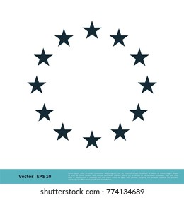 Europe Flag Star Icon Vector Template