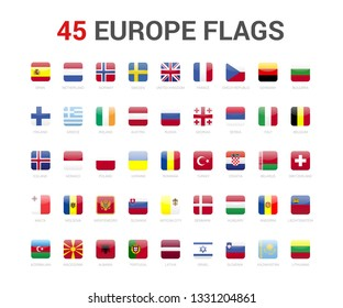 Europe flags of country. 45 flag rounded square icons Vector on White background.