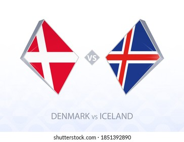 Europe football competition Denmark vs Iceland, League A, Group 2. Vector illustration.