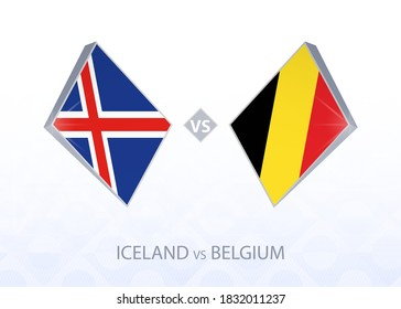 Europe football competition Iceland vs Belgium, League A, Group 2. Vector illustration.