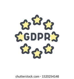 Europe GDPR service color line icon. EU stars with data protection vector outline colorful sign.