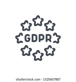 Europe GDPR service line icon. EU stars with data protection vector outline sign.