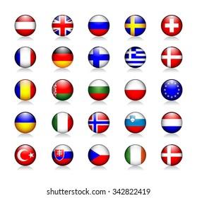 Europe Glossy Icons Set