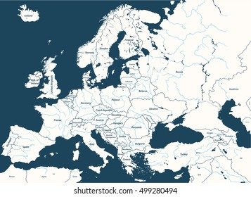 Europe high detailed vector political map with rivers and country names. All elements separated in detachable and labeled layers