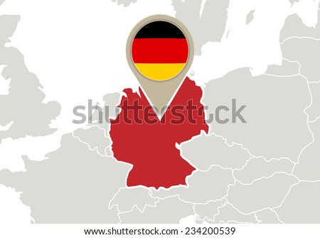 Map Of Europe With Germany Highlighted.Europe Highlighted Germany Map Flag Stock Vector Royalty Free