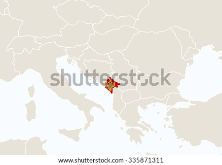 Europe Highlighted Montenegro Map Vector Illustration Stock Vector