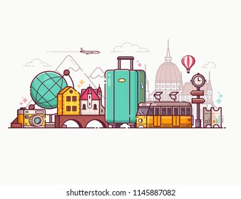 Europe holidays tourism concept travel banner for advertising. Worldwide traveling panoramic composition. Europe tour background with suitcase, yellow tram, landmarks and popular travel symbols set.