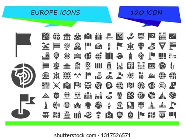 europe icon set. 120 filled europe icons.  Simple modern icons about  - Flag, Planet earth, Map, Earth globe, Brandenburg gate, Dutch, Monaco, Flags, Earth, Barcelona, Notre dame