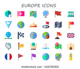 europe icon set. 30 flat europe icons.  Simple modern icons about  - world, flag, map, globe, grandstand, earth, sydney opera house, earth globe, united kingdom, world map, taj mahal