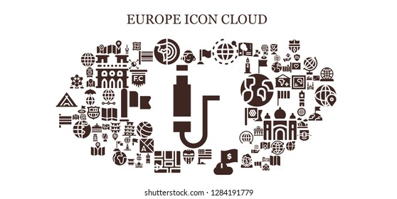 europe icon set. 93 filled europe icons. Simple modern icons about  - Jack, Portuguese, Map, Planet earth, Flag, World, Valencia, Flags, Atomium, Fernsehturm berlin, Earth globe