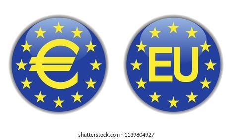 Europe icons, flag of Europe, European Union – stock vector