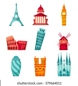 Europe landmark set. Travel illustration. Famous buildings. Skyscrapers. Cityscape. Architecture of : Paris, London, Barcelona, Rome. Tourist design