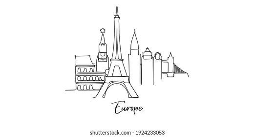 Europe landmarks skyline - continuous one line drawing