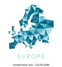 Europe low poly map vector - modern geometric style illustration.