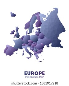 Europe Map. actual low poly style continent map. Memorable vector illustration.