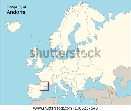 Europe Map Andorra Stock Vector Royalty Free 1085237543 Shutterstock
