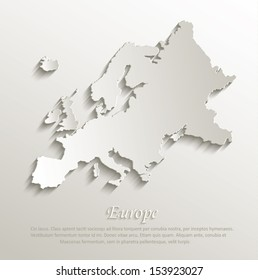 Europe map card paper 3D natural vector
