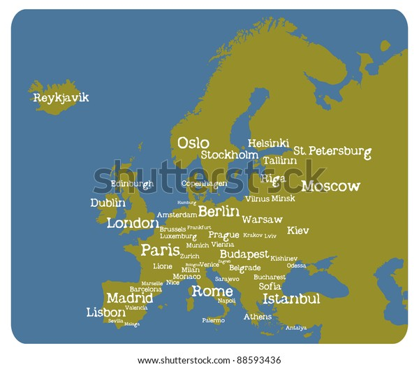 Europe Map Cities Stock Vector (Royalty Free) 88593436
