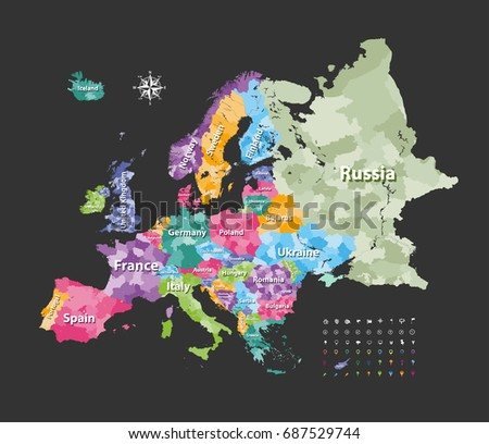 Europe Map Colored By Countries Regions Stock Vector (Royalty Free ...