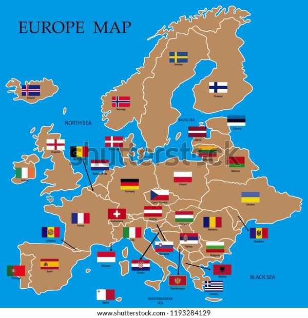 Europe Map Europe Countries Flags Names Stock Vector ...