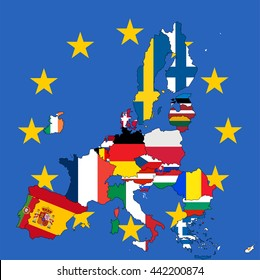 Europe map with the European Union member states without UK. Vector illustration.