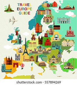 Europe Map with Famous Sightseeing. Travel Guide. Vector illustration.