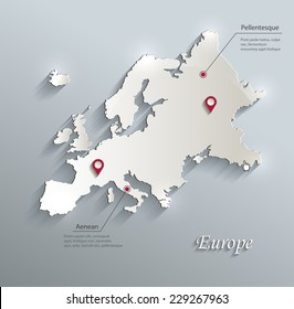 Europe map flag glass card paper 3D vector