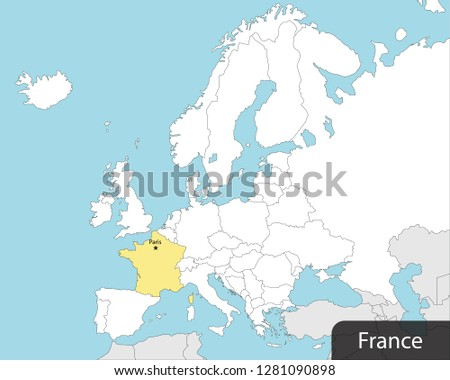 Capital Of France Map.Europe Map France Capital Paris Stock Vector Royalty Free