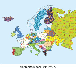 Europe map funny design with patterns for kids