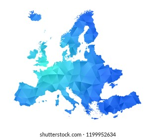 europe map in geometric blue polygonal style modern design on white background. Vector illustration.