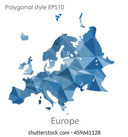 Europe map in geometric polygonal style.Abstract gems triangle,modern design background.Vector Illustration EPS10.
