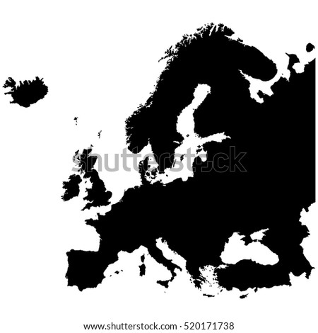 Europe Map High Resolution Black White Stock Vector Royalty Free