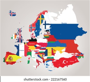 Europe map jointed with country flags