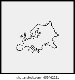 Europe map line icon.
