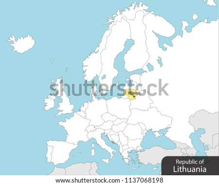 Lithuania On Europe Map.Europe Map Lithuania Capital Vilnius Stock Vector Royalty Free