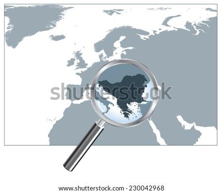 Peninsula In Europe Map.Europe Map Loupe Balkan Peninsula Gray Stock Vector Royalty Free