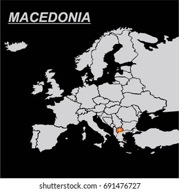 EUROPE MAP WITH MACEDONIA FLAG VECTOR