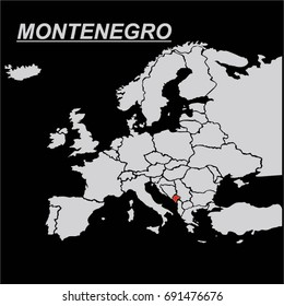 EUROPE MAP WITH MONTENEGRO FLAG VECTOR