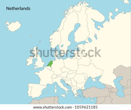 Europe Map Netherlands Stock Vector Royalty Free 1059621185