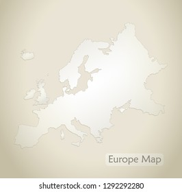 Europe map old paper background vector