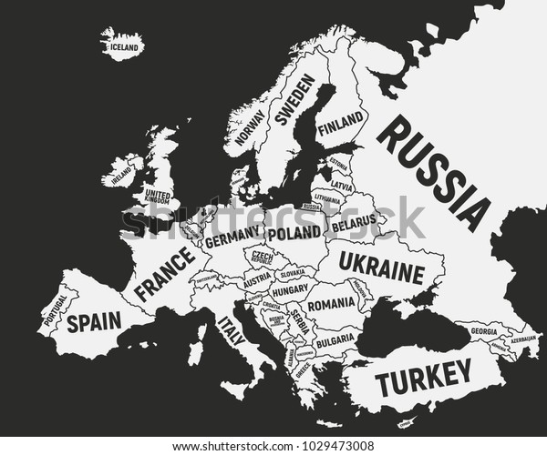Europe Map Poster Map Europe Country Stock Vector (Royalty ...