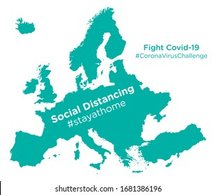 Europe map with Social Distancing #stayathome tag