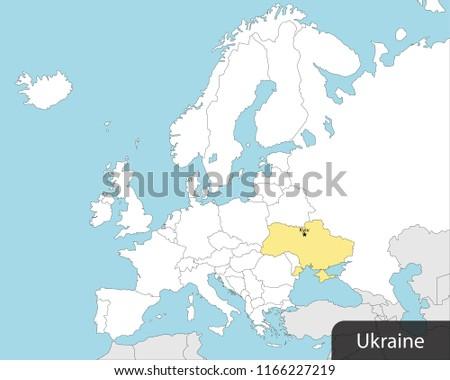 Europe Map Ukraine Capital Kiev Stock Vector Royalty Free