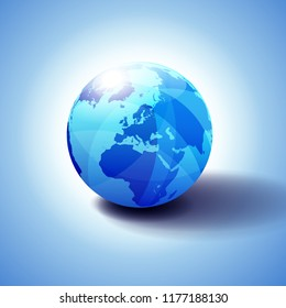 Europe, Middle East and Africa Background with Globe Icon 3D illustration, Glossy, Shiny Sphere with Global Map in Subtle Blues giving a transparent feel.